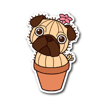 Dog sticker png. Pug cactus vinyl the