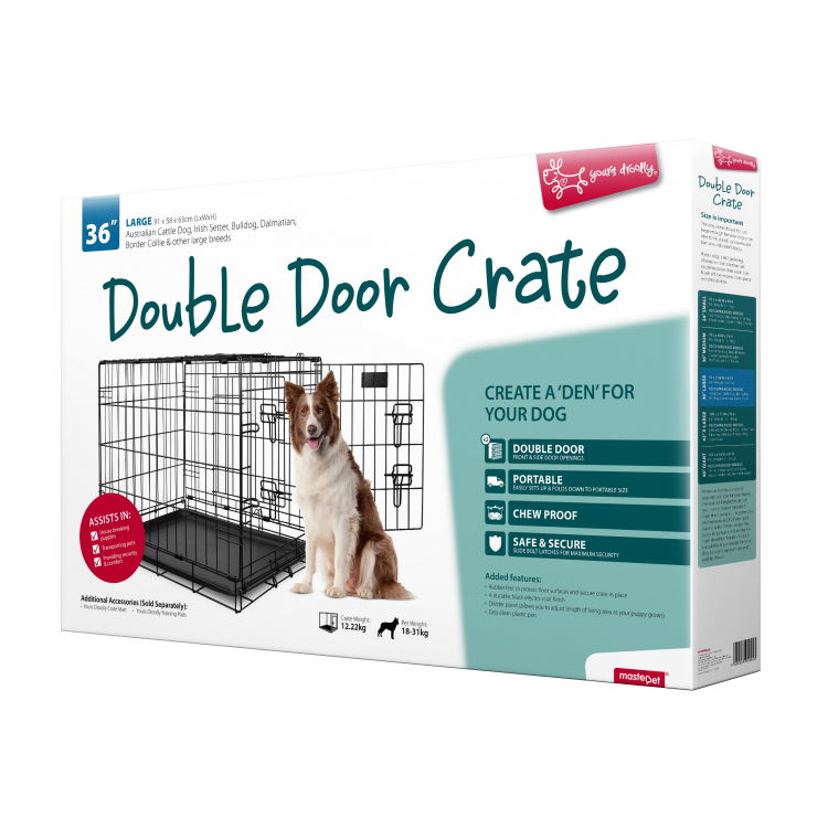 Dog travel crate png. Yours droolly double door