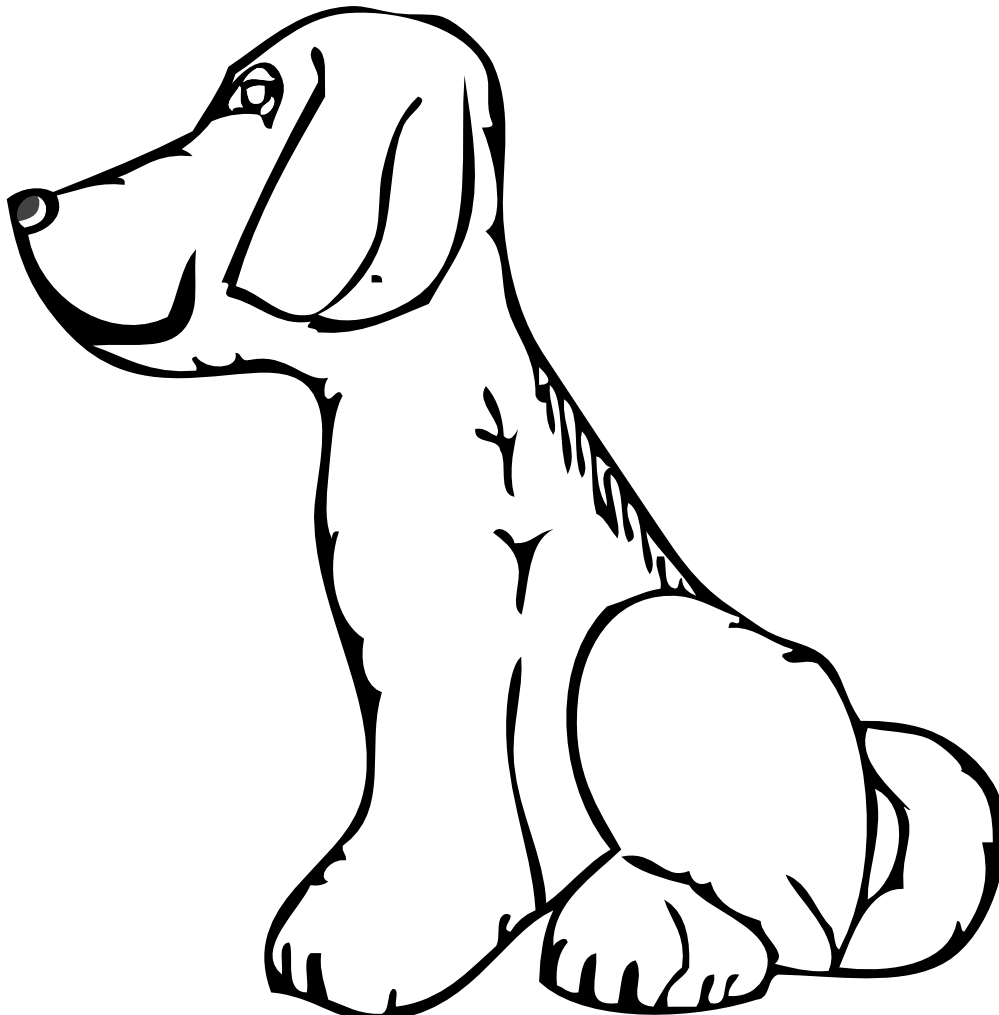 Doggy drawing dog's face. Clipart dog black
