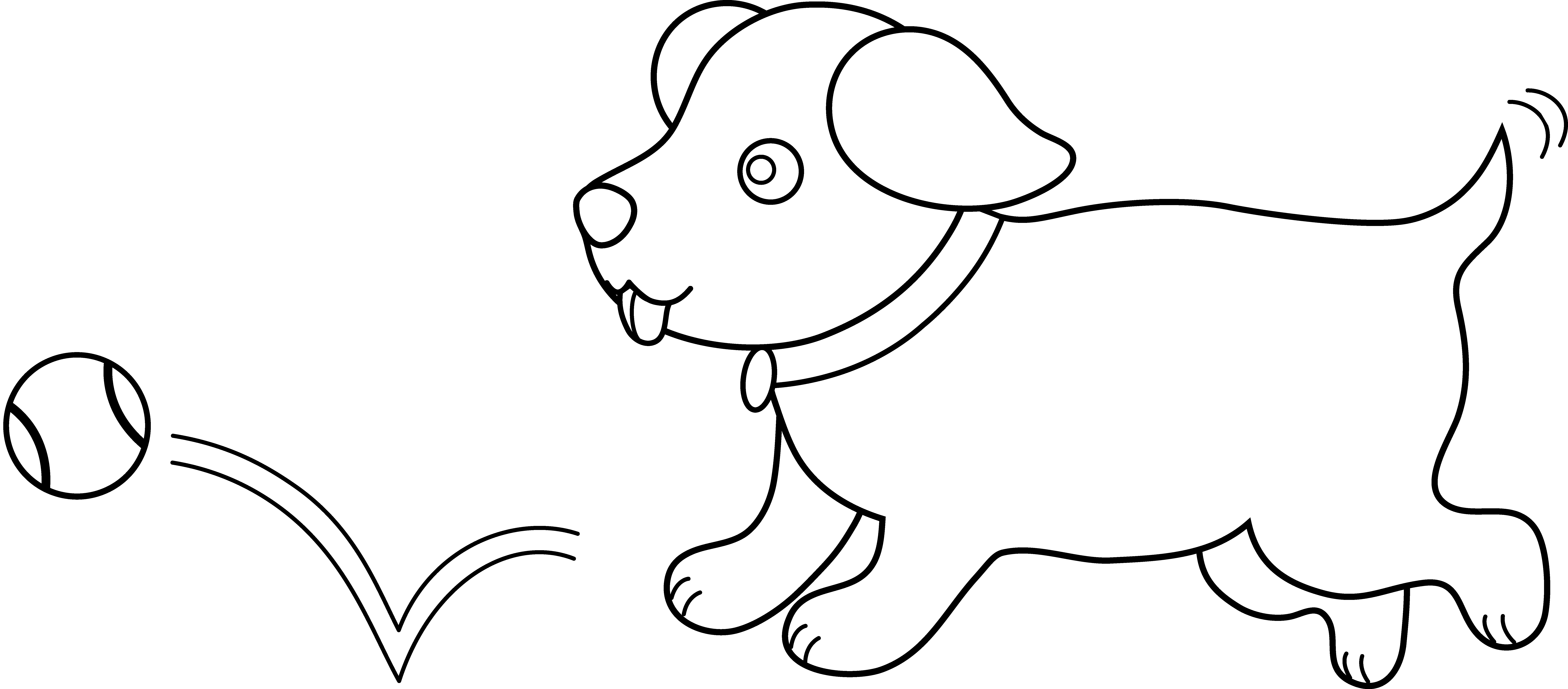 Doggy drawing playful dog. Line art of puppy