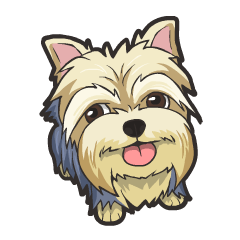 Doggy drawing yorkie. Cute sticker for terrier