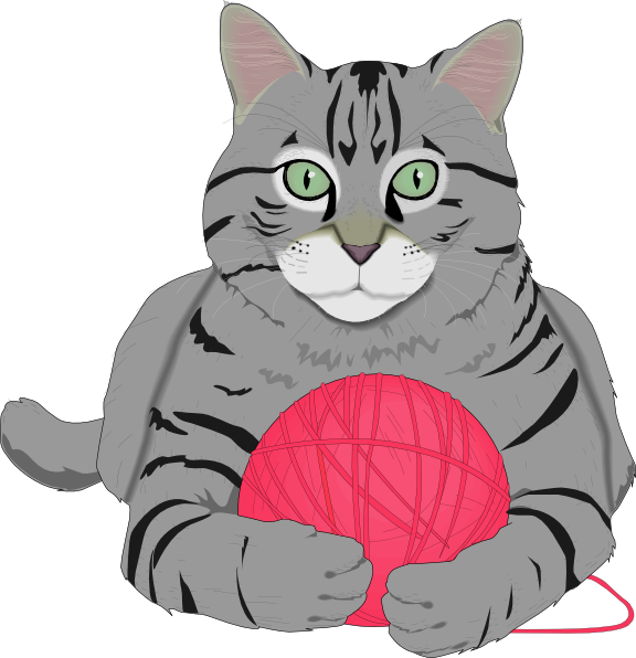 Dogs and cats yarn png. Cat with pink string