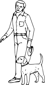 Dogs clipart person. Man with dog clip