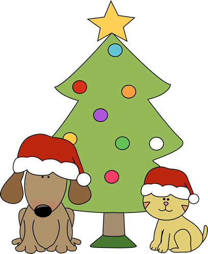 Cats clipart tree. Free dogs christmas cliparts