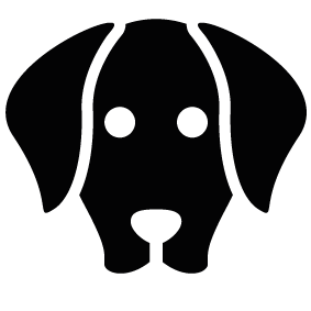 Outline vector dog. Face silhouette of