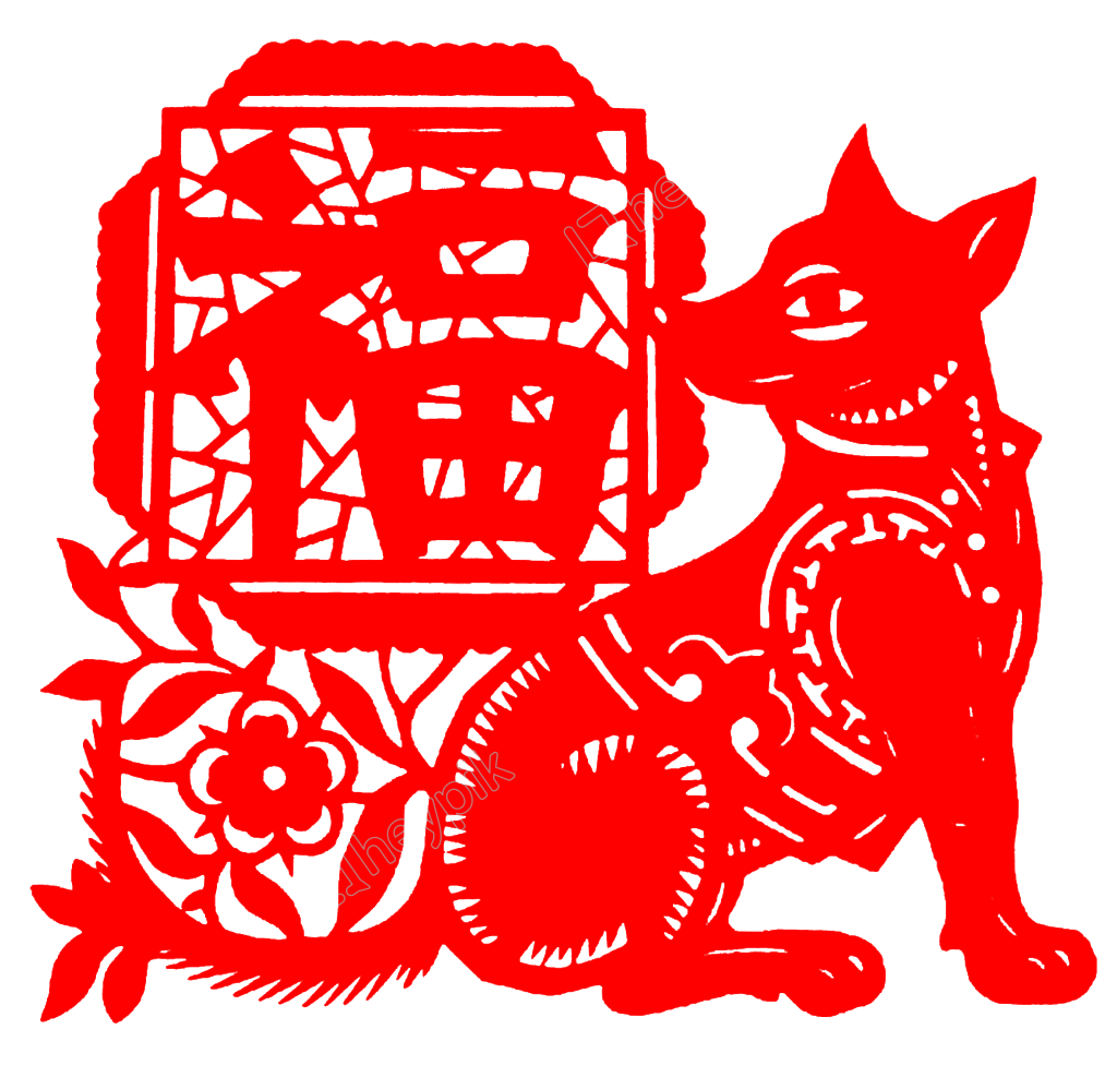 Dogs vector paper cutting. Dog year cut style