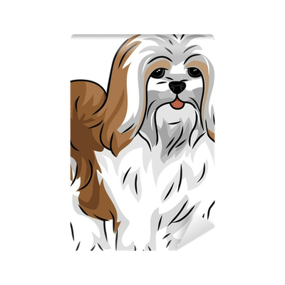 Dogs vector lhasa apso. Wall mural pixers we