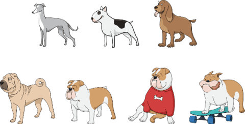 Dogs vector paper cutting. Set of stickers free
