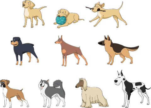 Dogs vector paper cutting. Printable stickers free papercraft