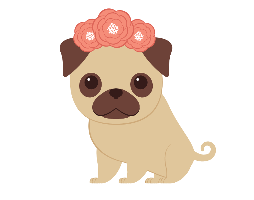 Dogs vector pug. Creating the wreath and