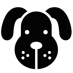 Dogs vector shape. Dog face silhouette of
