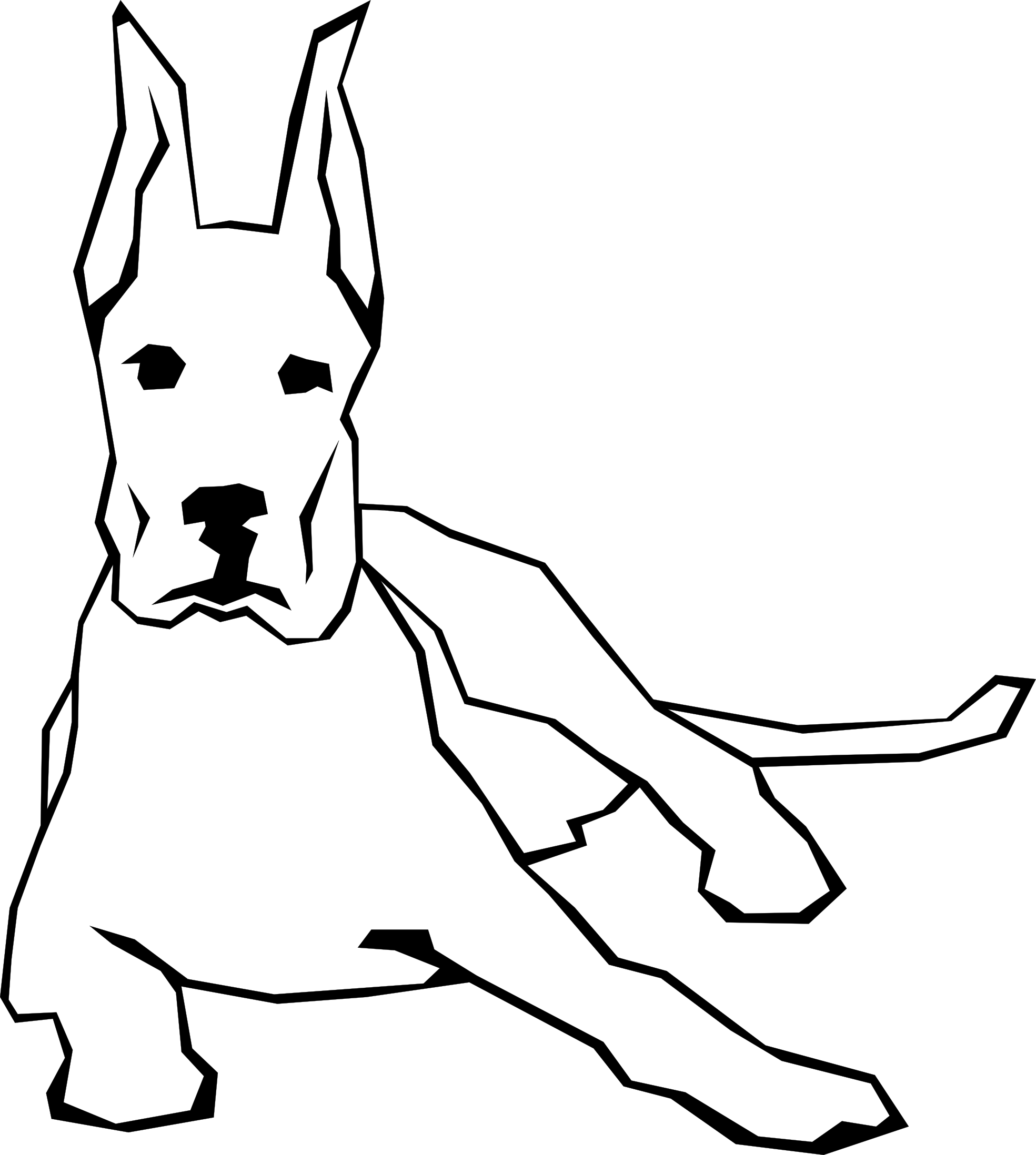 Dogs vector simple. Dog drawing black white