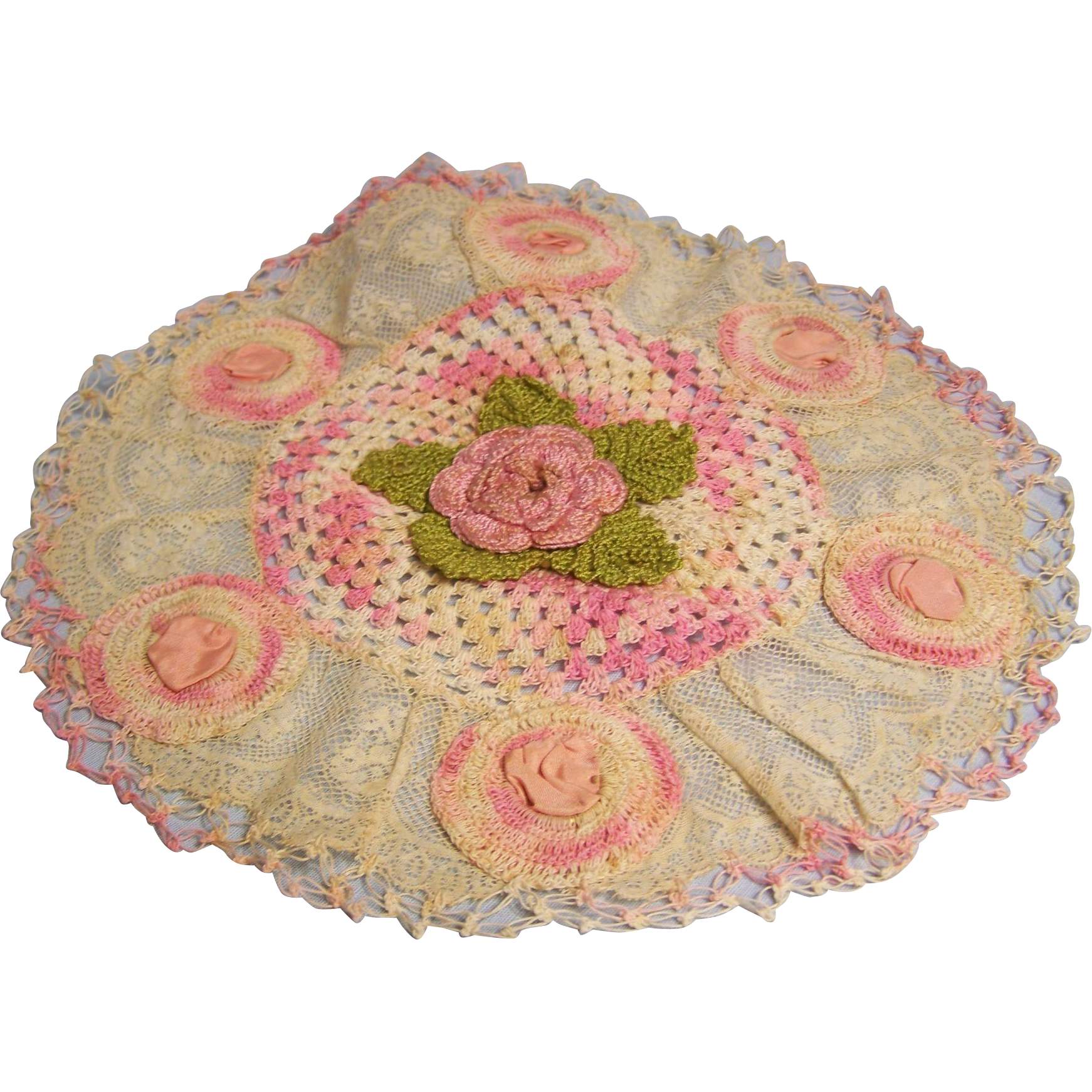 Doily transparent pink. Lace trimmed crochet with