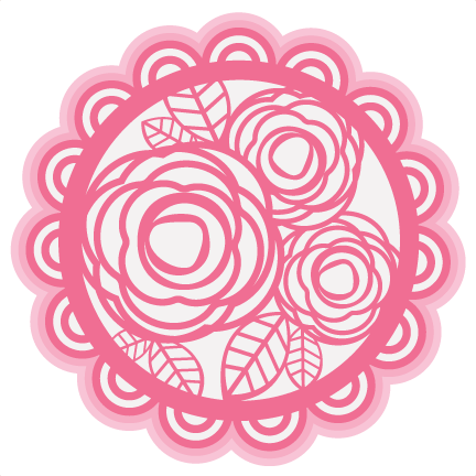 Doily transparent svg. Layered rose cutting file