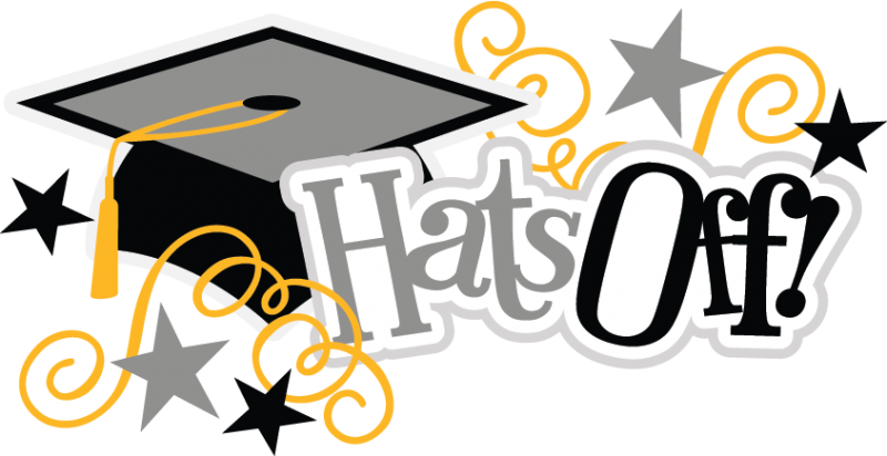 Hats off graduation . Graduate clipart banner black and white library