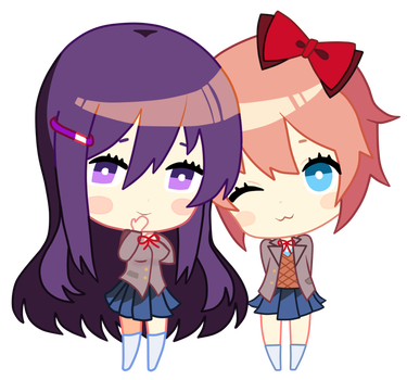 Shy drawing chibi. Doki literature club stares