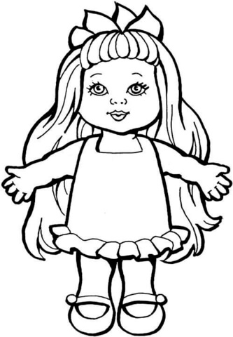 Doll clipart coloring. Page free printable pages