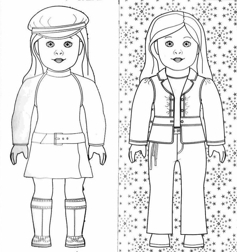 Doll clipart coloring. Free printable american girl