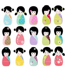 Kokeshi dolls chinese instant. Doll clipart kawaii clip freeuse download