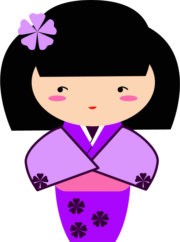 Doll clipart kokeshi doll. Ume purple graphic by