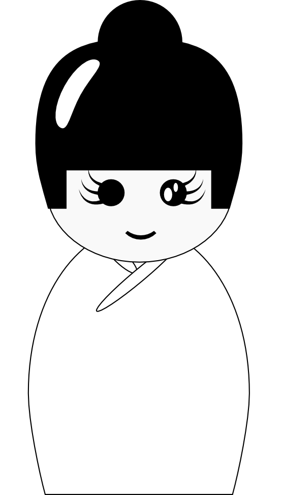 Doll clipart kokeshi doll. Black and white