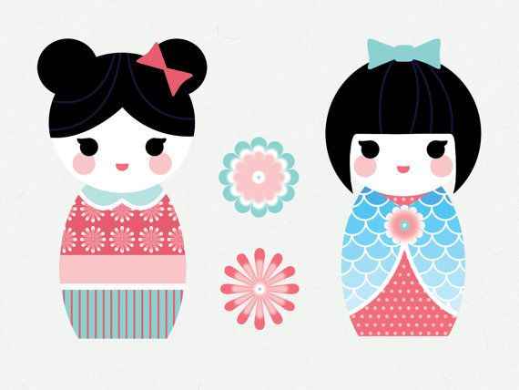 Cute japanese by mygirlyprints. Doll clipart kokeshi doll png black and white library