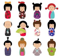 Doll clipart kokeshi doll. Dolls chinese instant download