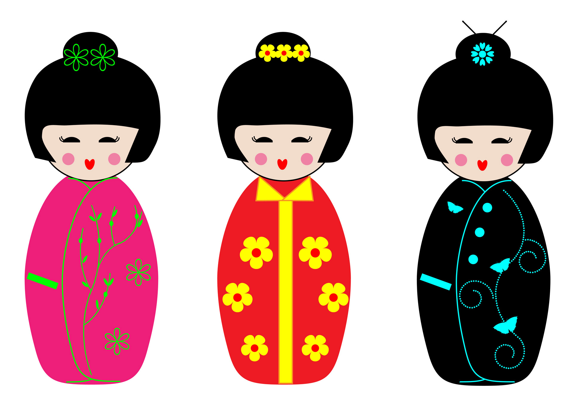 Dolls clipart. Kokeshi free stock photo