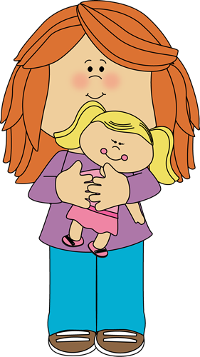 Doll clipart play. Little girl holding a