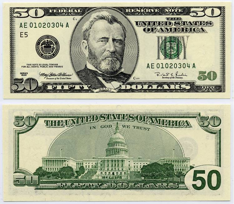 Dollar clipart 50 dollar. Printable money front and