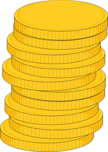 Dollar clipart pile coin. Stack of coins clip