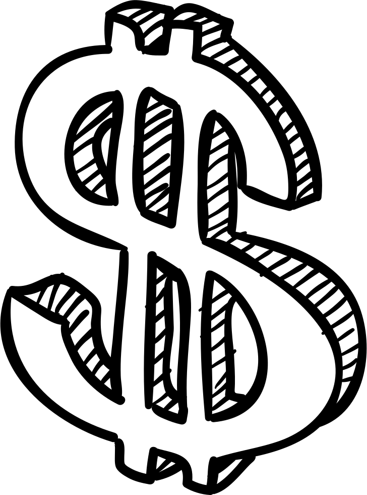 Dollar sign drawing png. Currency sketch svg icon
