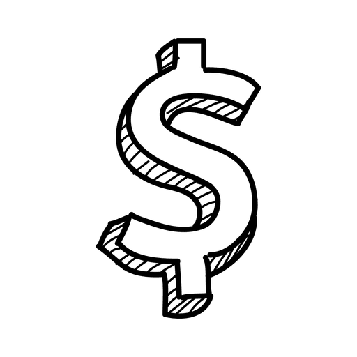 Dollar sign transparent png. D hand drawn