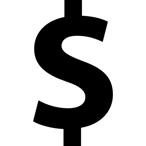 Dollar sign symbol bold text