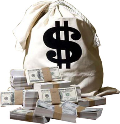Cash drawing stack money. Transparent bag in bags