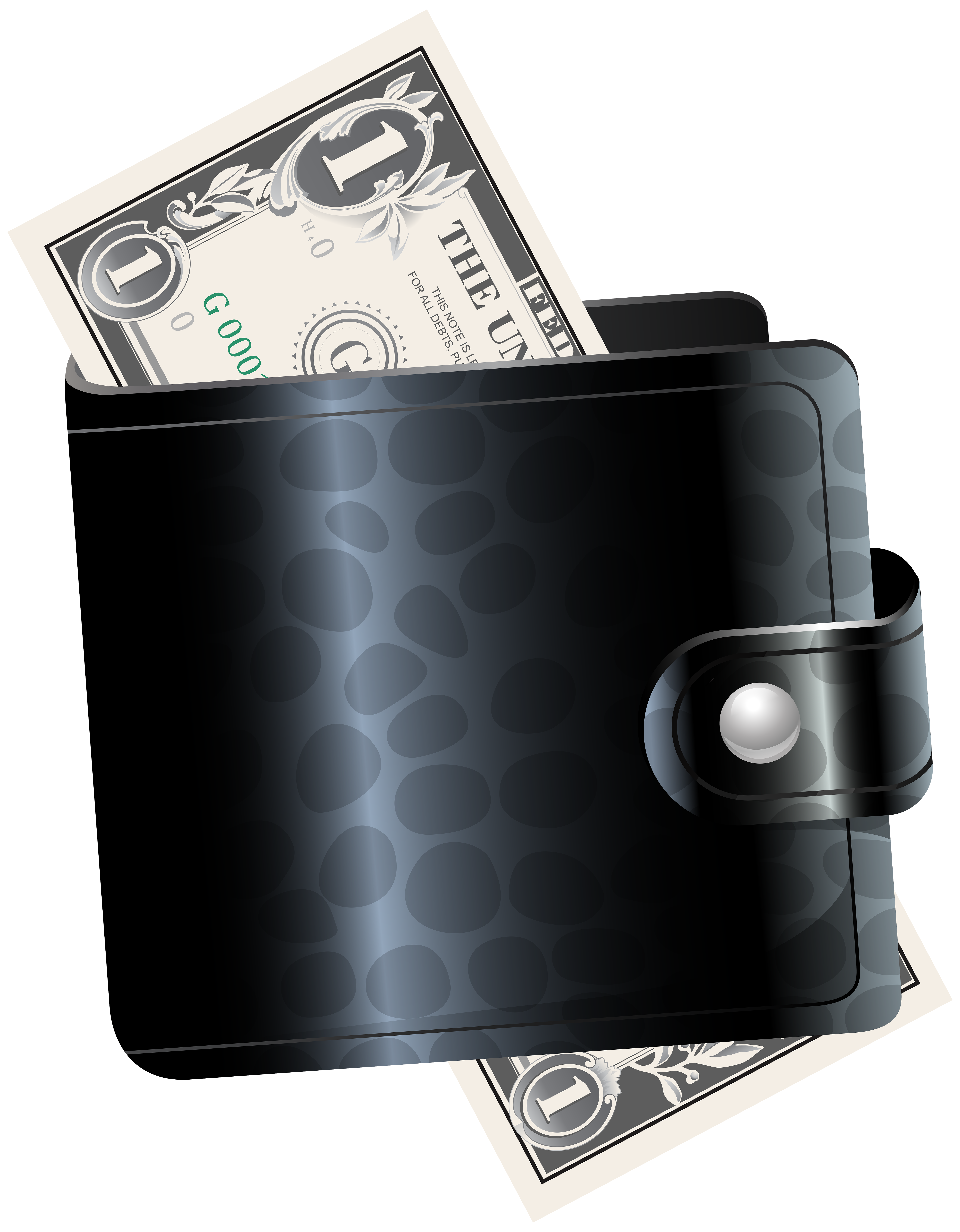 Transparent wallet money. Black with one dollar