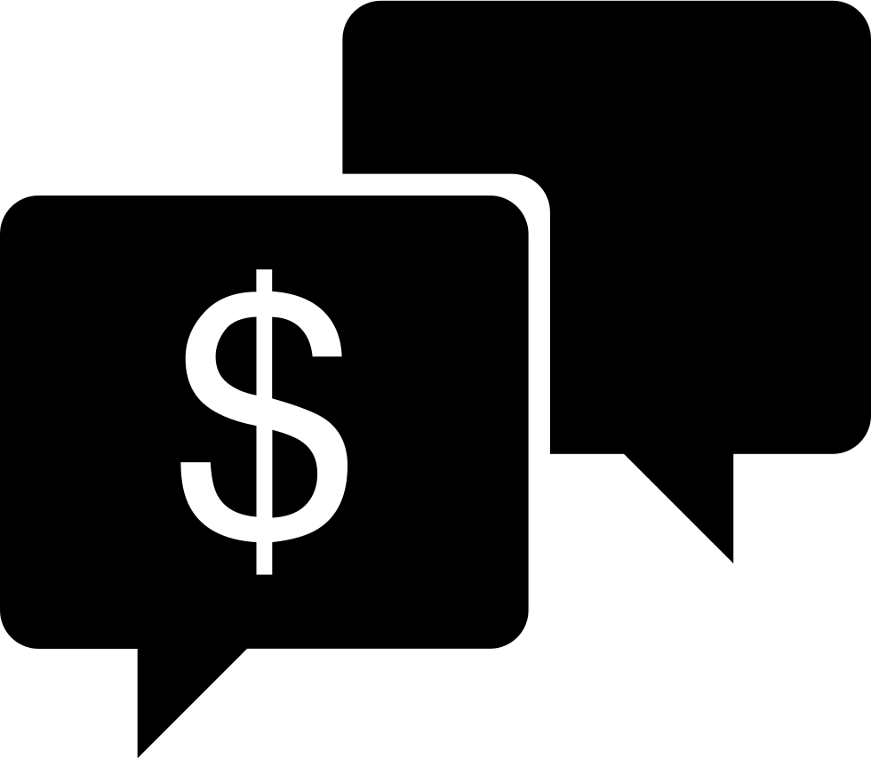 Dollar transparent bubble. Speech with sign svg