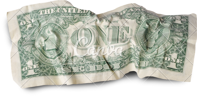 Dollar transparent crumpled. Back of one photos