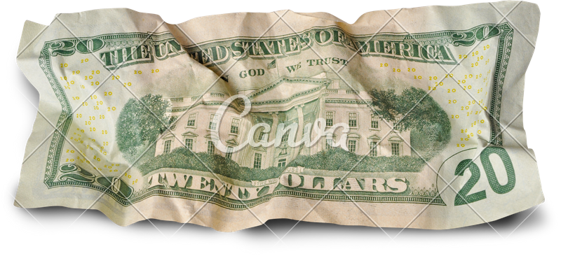 Dollar transparent crumpled. Twenty dollars photos by