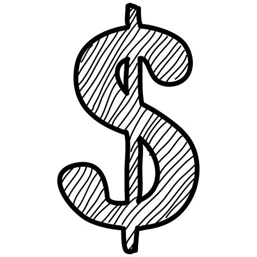 Dollar transparent hand drawn. Icon png svg vector
