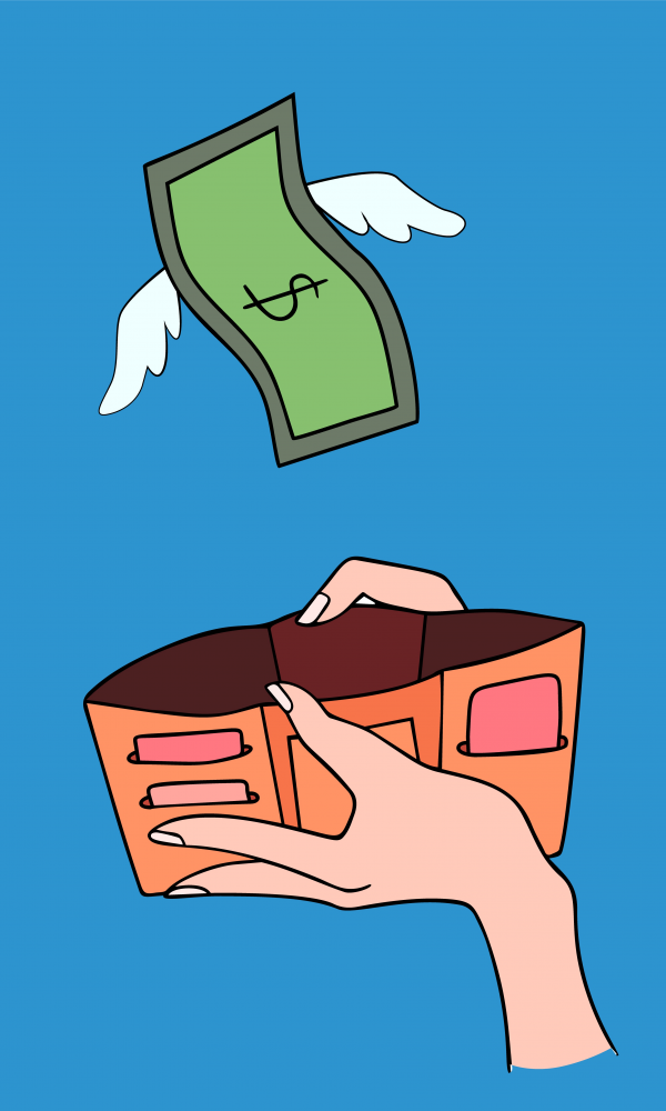 Dollars and with wings flying away from hand with wallet. Losing money overspending