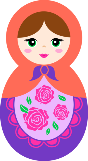 Dolls clipart doll face. Cute orange and purple