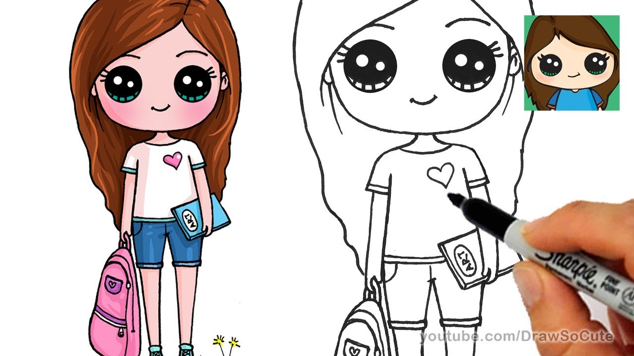 Dolls clipart girl thing. How to draw cute