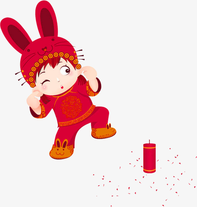 Chinese firecrackers decorative patterns. Dolls clipart red doll image