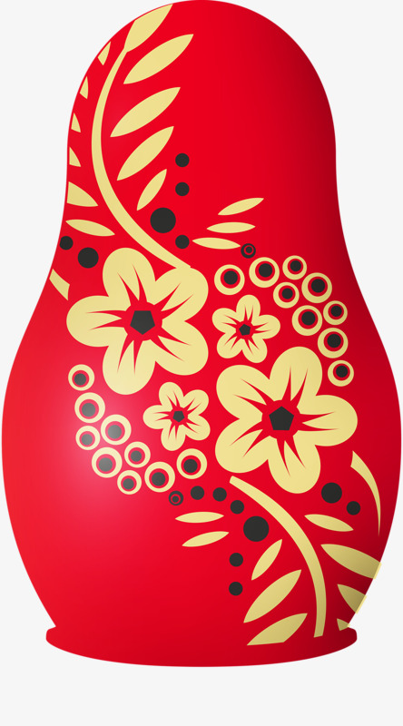 Hand painted russian cartoon. Dolls clipart red doll vector transparent stock