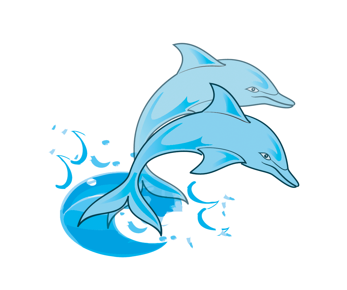 Porpoise drawing blue dolphin. Animated clipart