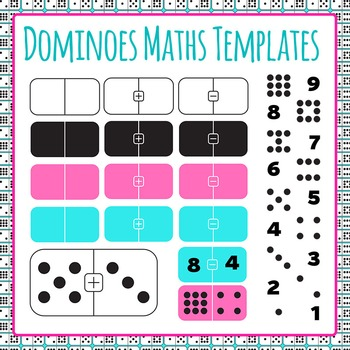 Domino clipart template. Dominoes math templates addition