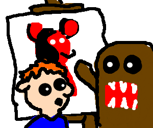 Domo drawing. Helping picasso draw red
