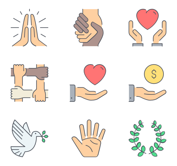 Donation vector. Charity icons free ngo