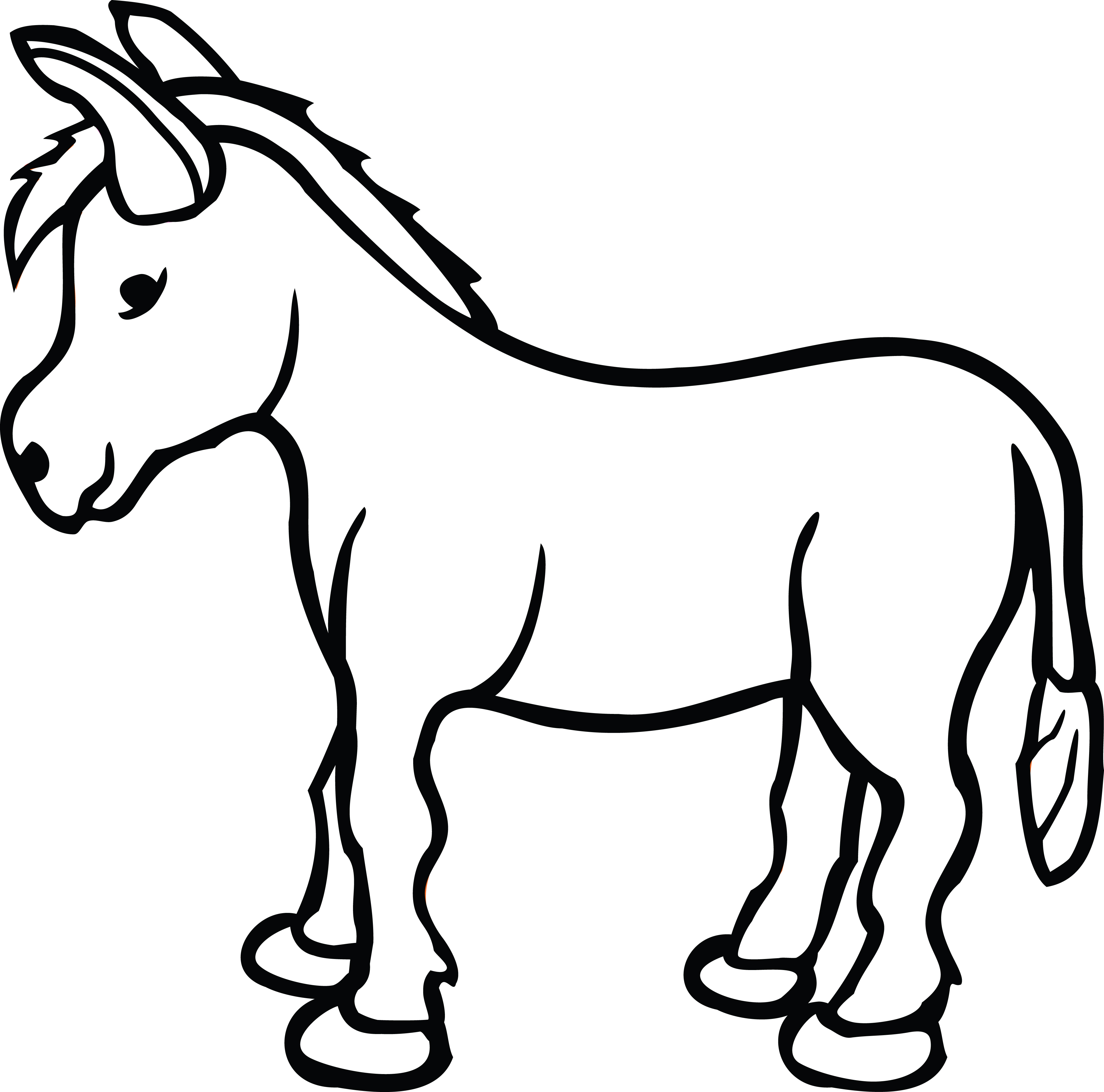 Donkey clipart line. Free of a